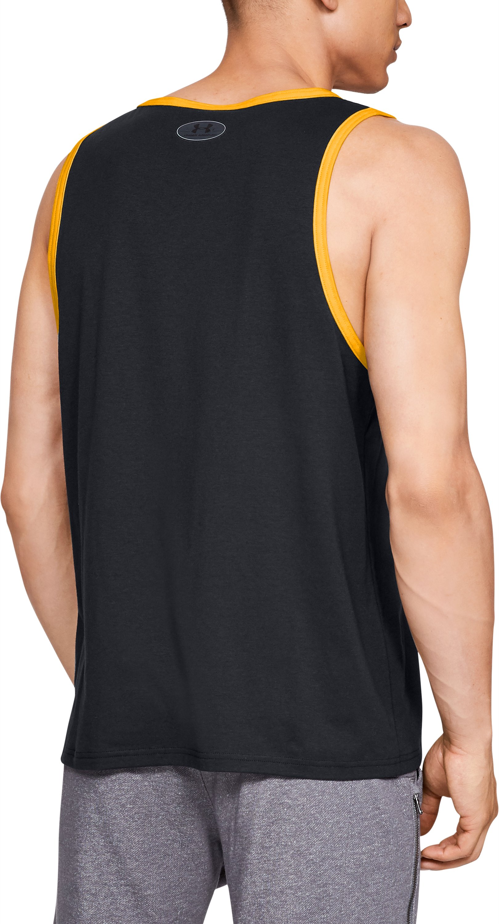 Men's UA x Project Rock Squared Circle Champ Tank, Black ,