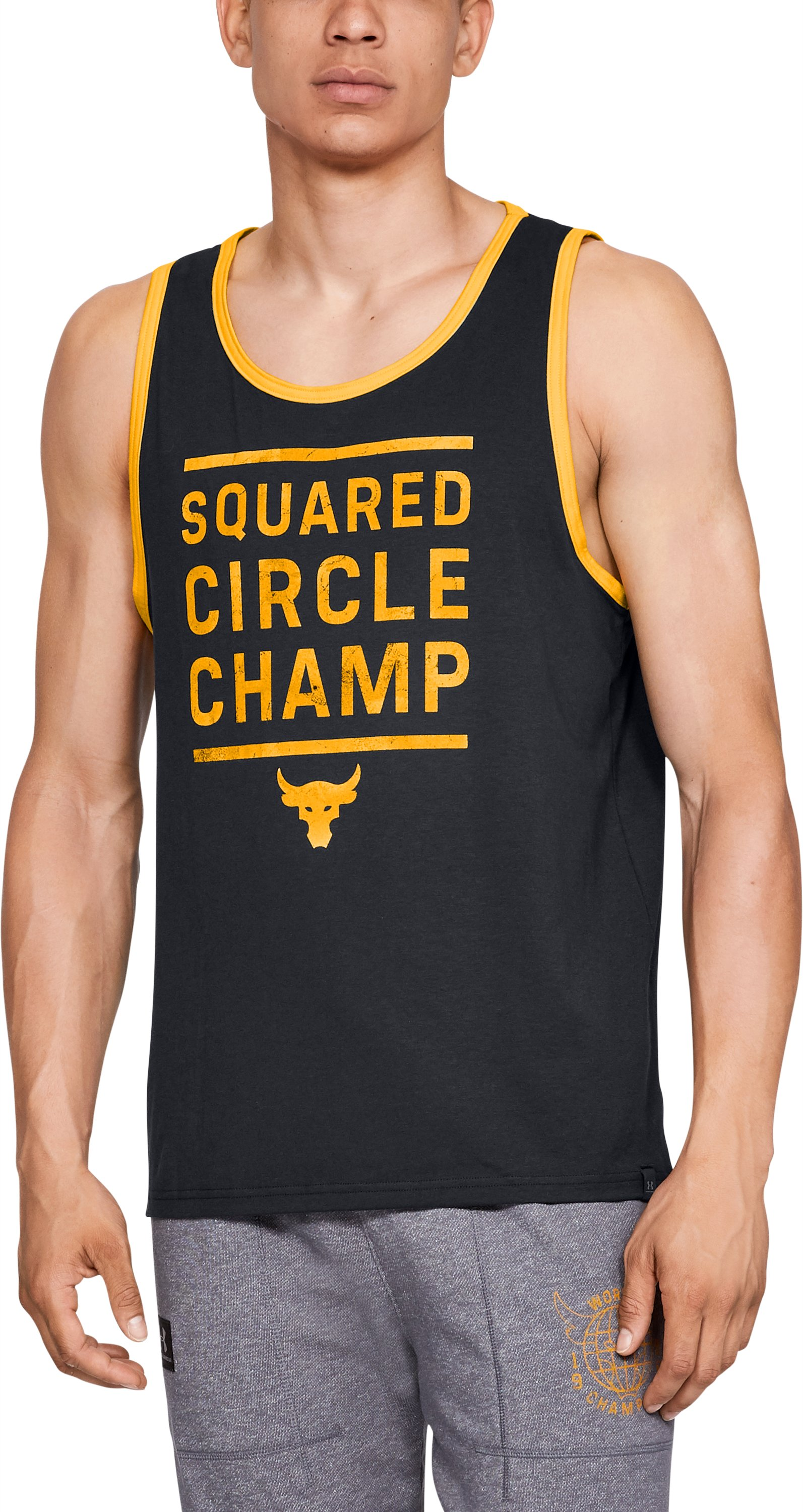 Men's UA x Project Rock Squared Circle Champ Tank, Black , zoomed
