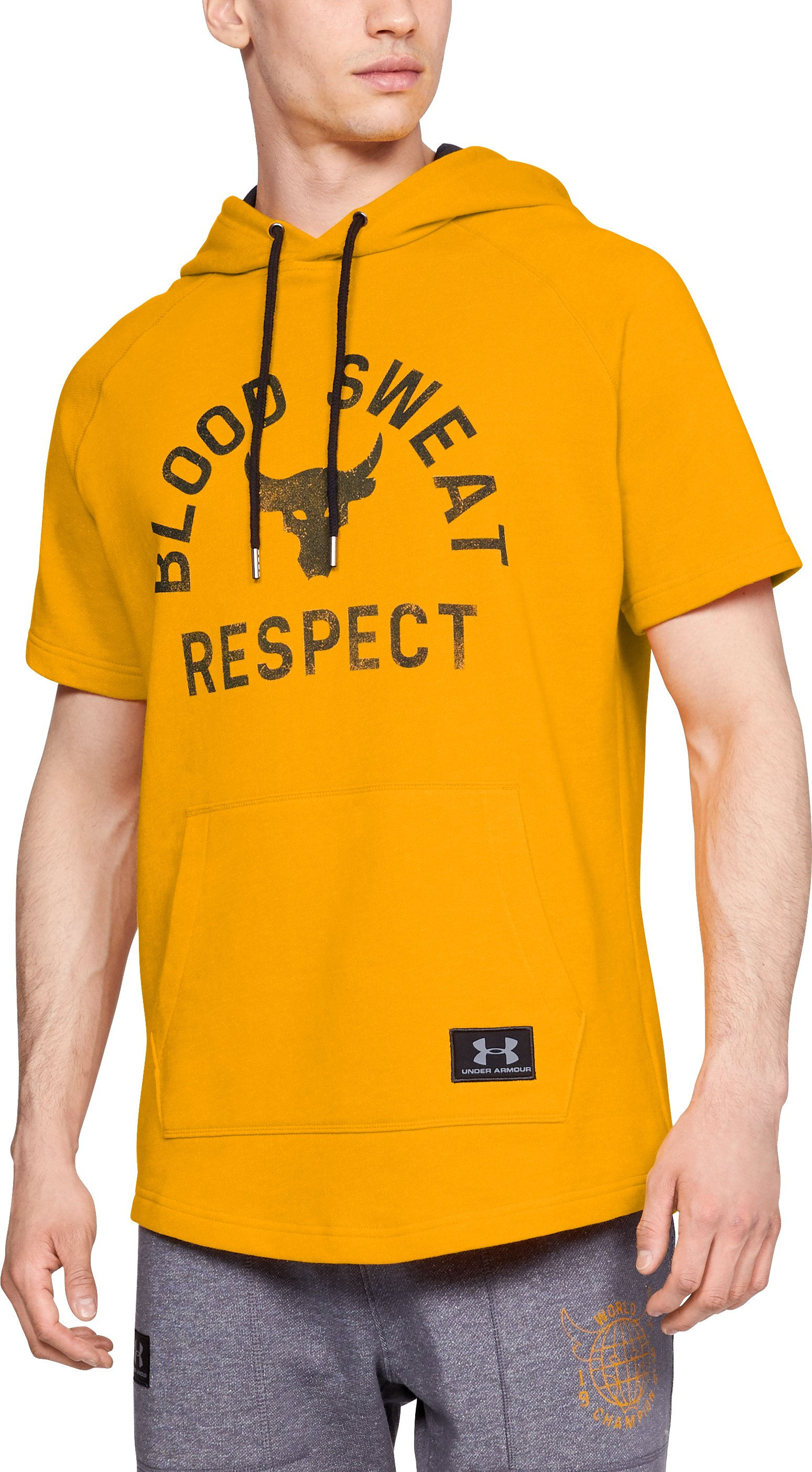Men's UA x Project Rock Respect Short Sleeve Hoodie, Steeltown Gold, zoomed