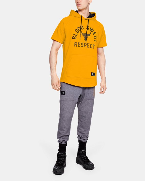 Project Rock Respect SS Hoodie, Yellow, pdpMainDesktop image number 1