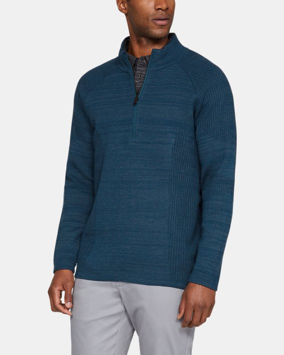 Men's UA Threadborne ½ Zip Sweater, Blue, pdpMainDesktop image number 0