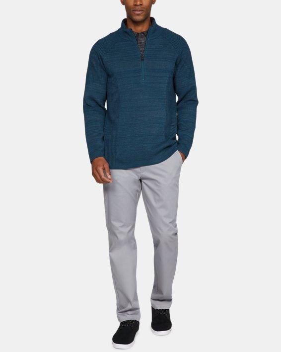 Men's UA Threadborne ½ Zip Sweater, Blue, pdpMainDesktop image number 1