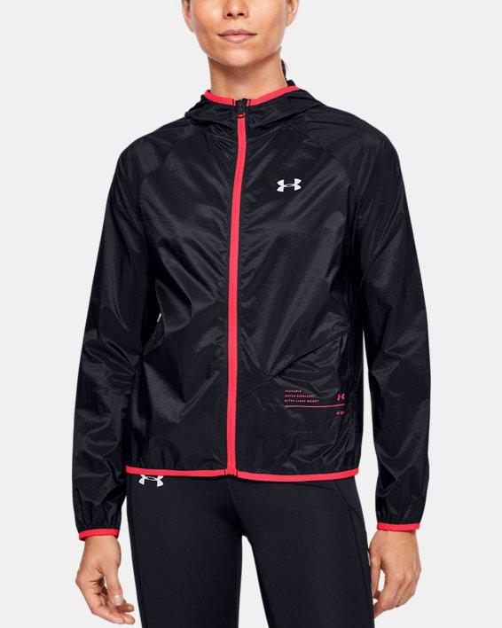 Women's UA Qualifier Storm Packable Jacket, Black, pdpMainDesktop image number 0