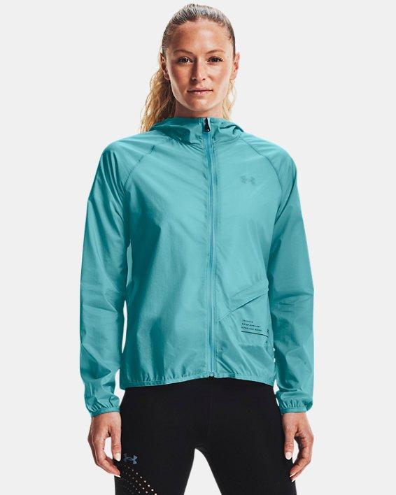 Women's UA Qualifier Storm Packable Jacket, Blue, pdpMainDesktop image number 1