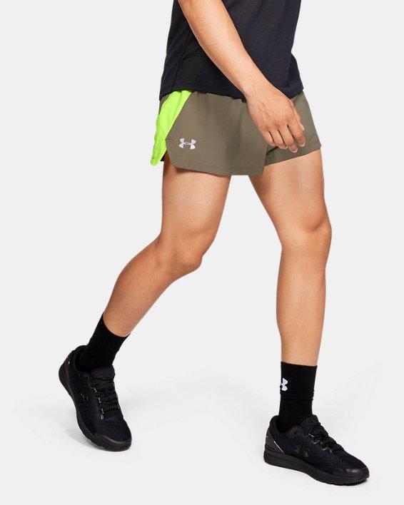 Men's UA Launch SW Split Shorts, Brown, pdpMainDesktop image number 0