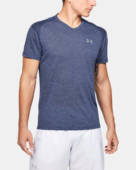 Men's UA Streaker V-Neck Short Sleeve, Blue, pdpMainDesktop image number 0