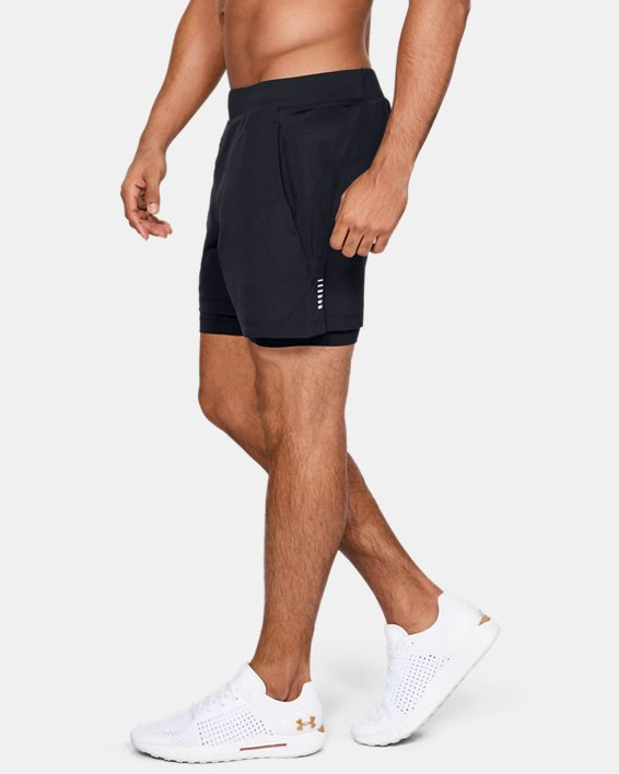 Men's UA Qualifier Speedpocket 2-in-1 Shorts, Black, pdpMainDesktop image number 3