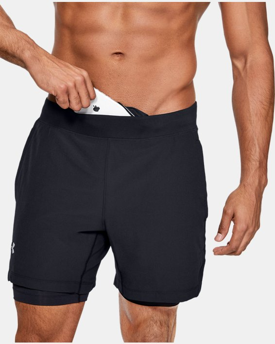 Men's UA Qualifier Speedpocket 2-in-1 Shorts, Black, pdpMainDesktop image number 7