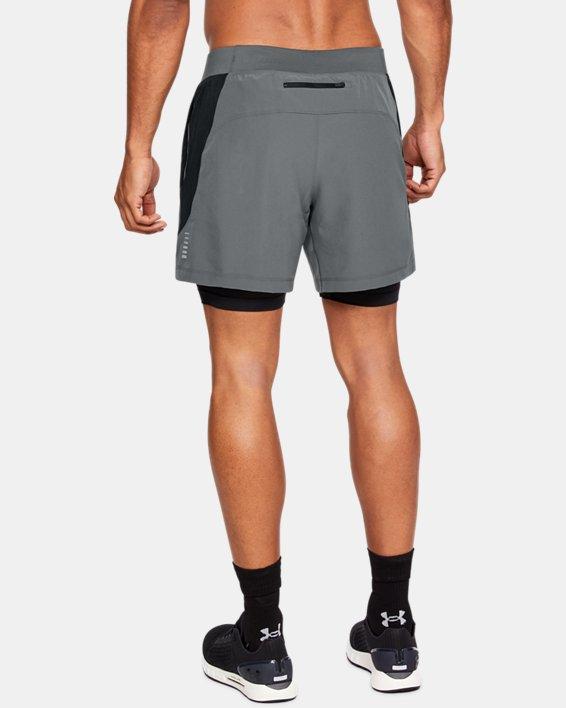 Men's UA Qualifier Speedpocket 2-in-1 Shorts, Gray, pdpMainDesktop image number 2