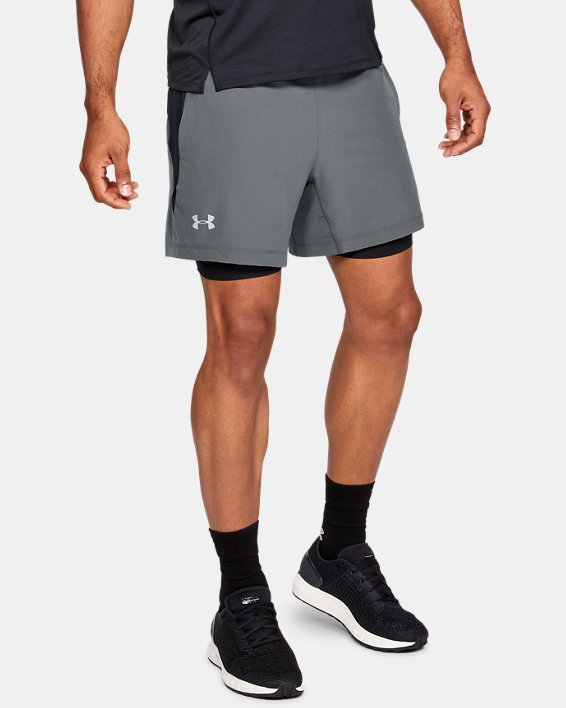 Men's UA Qualifier Speedpocket 2-in-1 Shorts, Gray, pdpMainDesktop image number 0