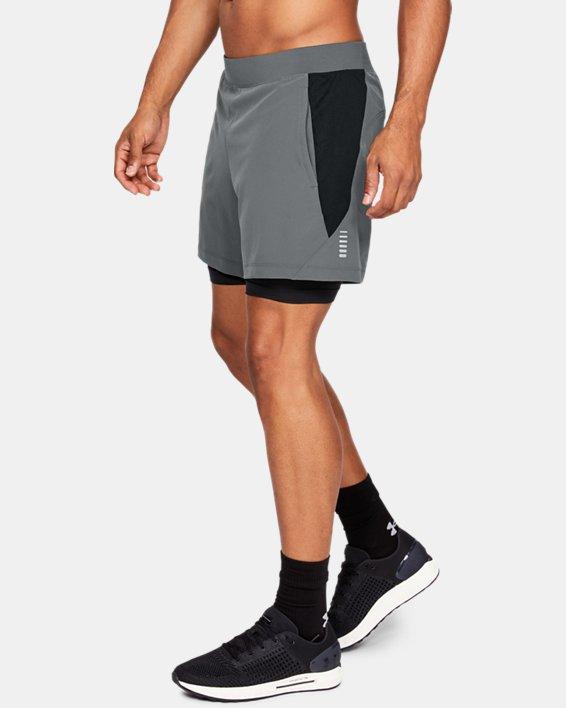 Men's UA Qualifier Speedpocket 2-in-1 Shorts, Gray, pdpMainDesktop image number 3