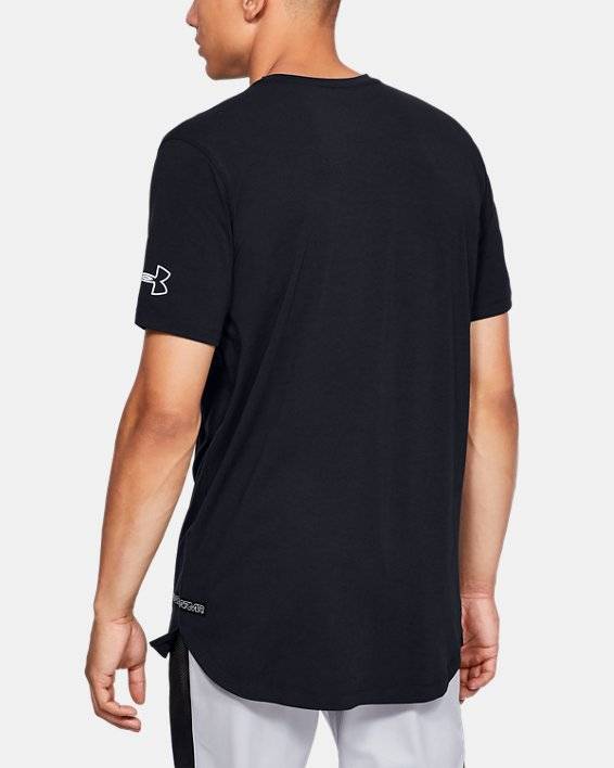 Men's UA Baseline Short Sleeve Long Line T-Shirt, Black, pdpMainDesktop image number 2