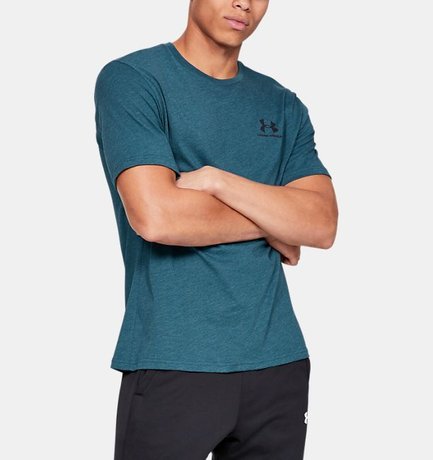 Men's UA Sportstyle Left Chest Short Sleeve Shirt, Petrol Blue Medium Heather, , Petrol Blue Medium Heather, Click to view full size