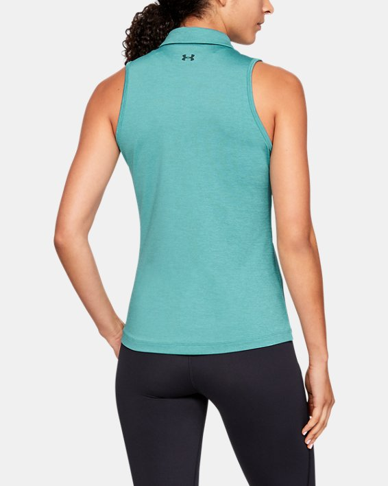 Women's UA Zinger Sleeveless Polo, Blue, pdpMainDesktop image number 2