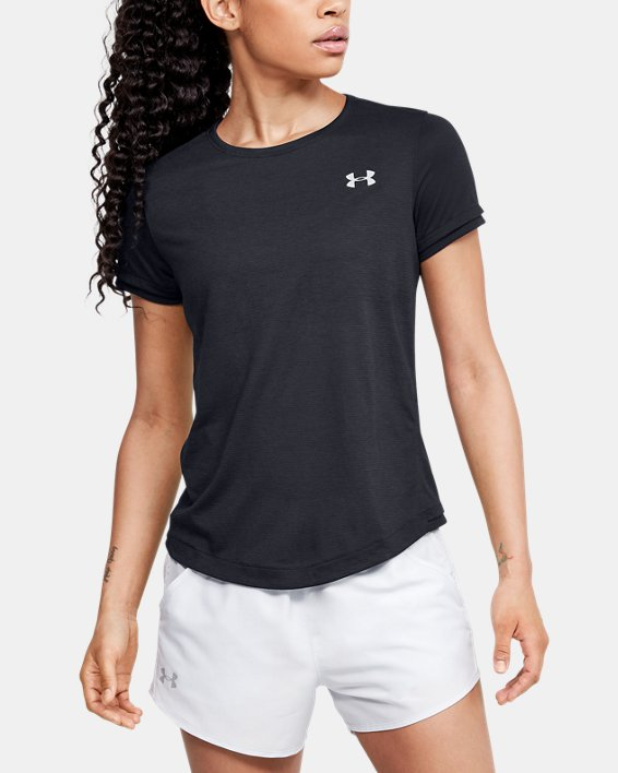 Women's UA Streaker Short Sleeve, Black, pdpMainDesktop image number 2