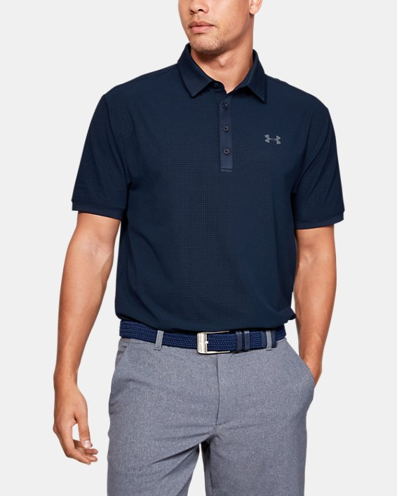 Polo UA Playoff Vented pour homme, Navy, pdpMainDesktop image number 0