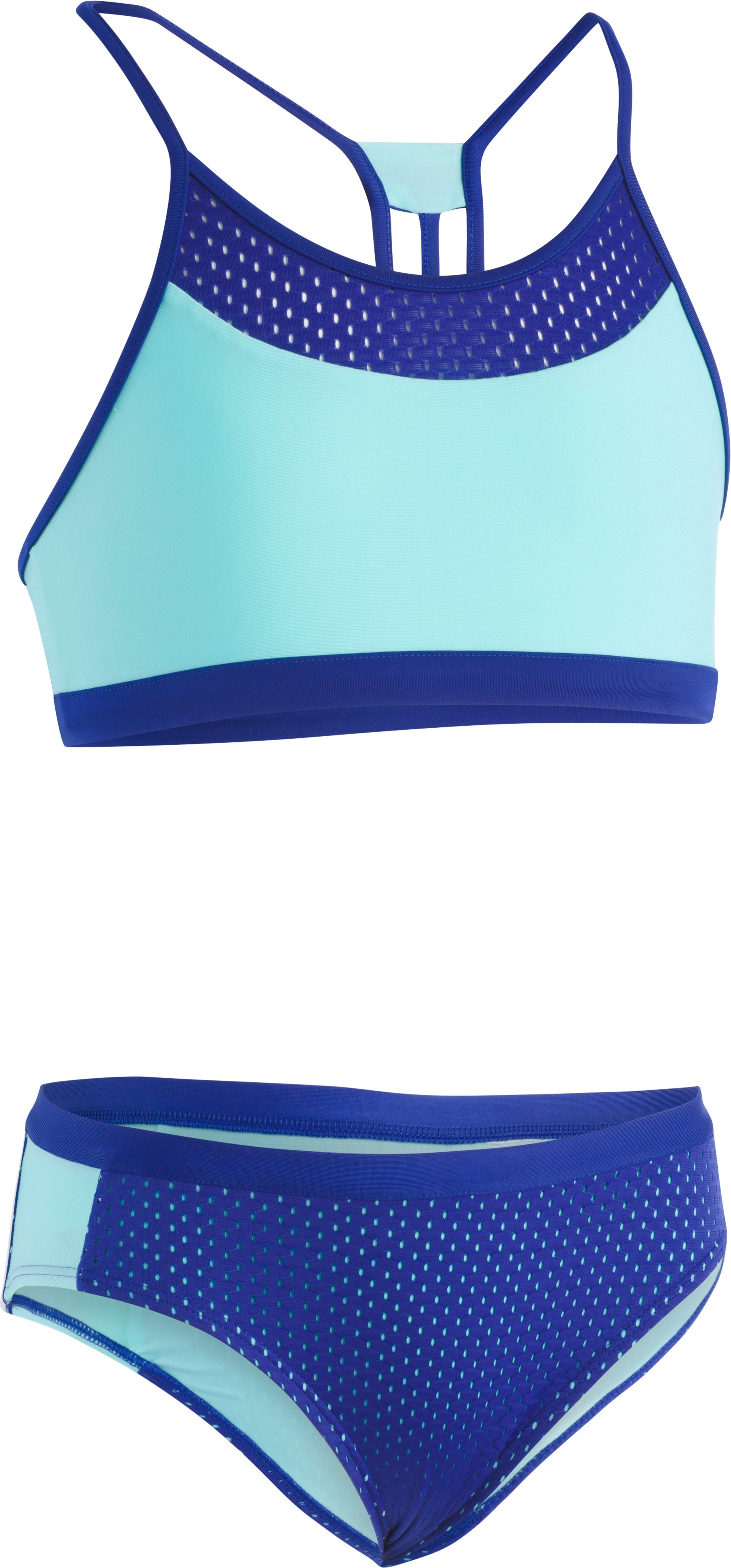 Girls' UA Racer 2-Piece Bikini, TROPICAL TIDE, Laydown