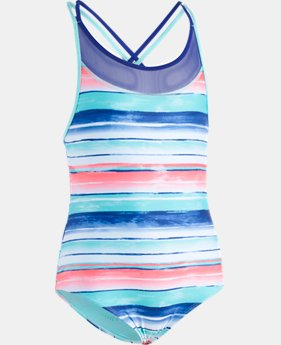 Girls' UA Water Stripe 1-Piece  1  Color Available $40