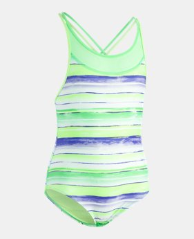 c01db282d9a Girls' UA Water Stripe 1-Piece LIMITED TIME ONLY 1 Color Available $30.99