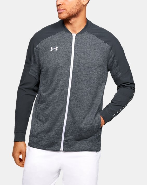 Men's UA Knit Warm-Up Jacket, Gray, pdpMainDesktop image number 0