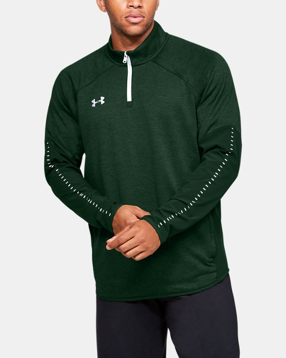 Men's UA Knit Warm-Up ¼ Zip, Green, pdpMainDesktop image number 0