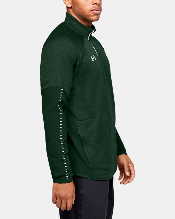 Men's UA Knit Warm-Up ¼ Zip, Green, pdpMainDesktop image number 3