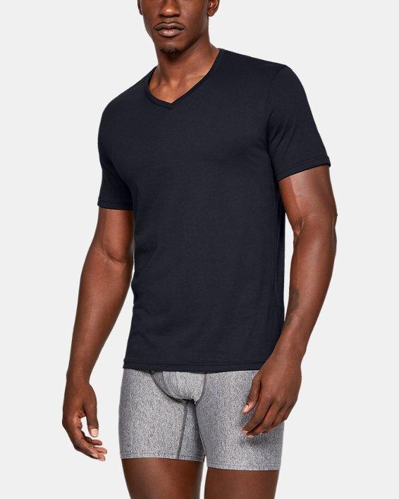 Men's Charged Cotton® V-Neck Undershirt – 2-Pack, Black, pdpMainDesktop image number 0