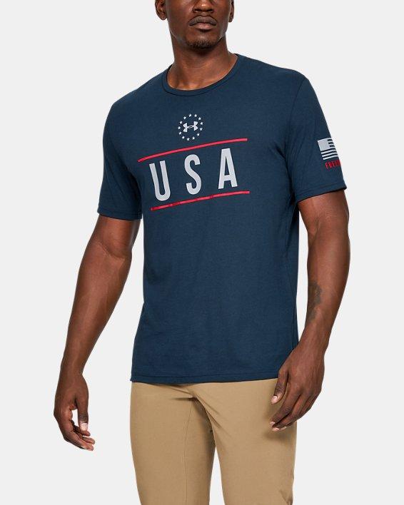 Men's UA Freedom USA Chest T-Shirt, Navy, pdpMainDesktop image number 0