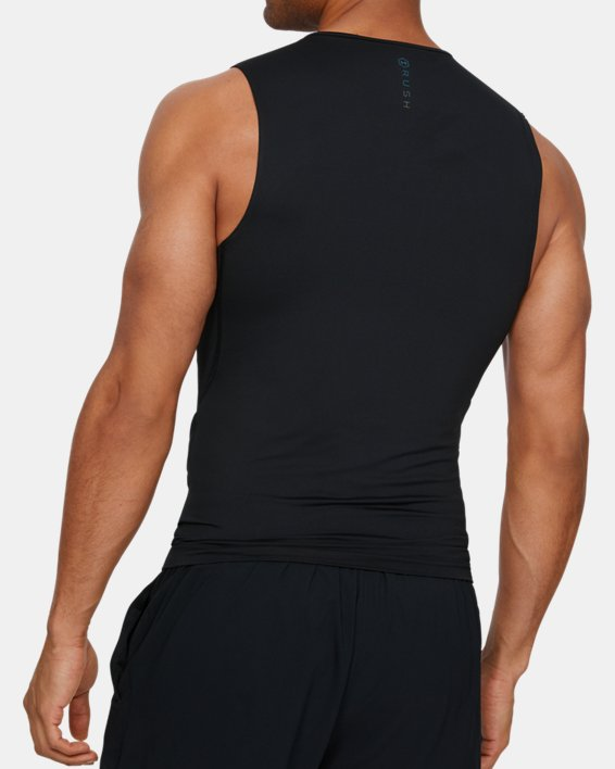 Men's UA RUSH™ Compression Sleeveless, Black, pdpMainDesktop image number 2