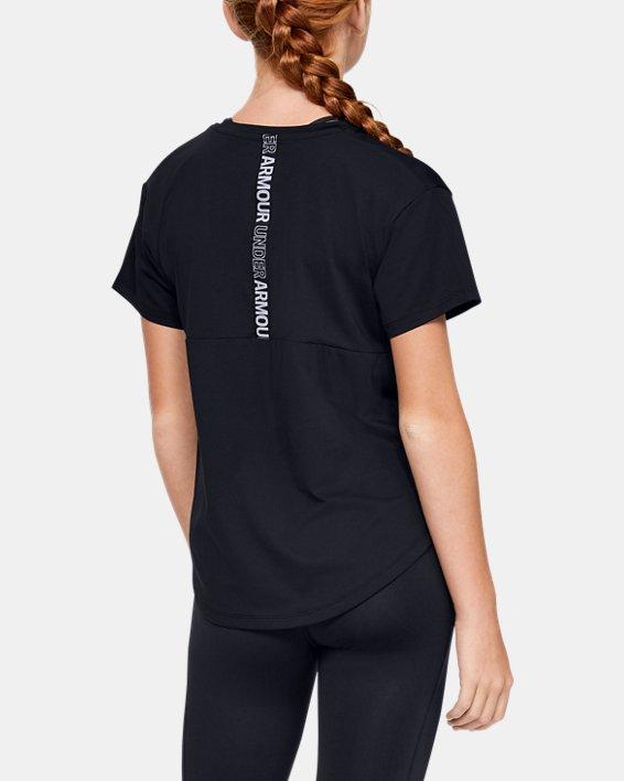 Girls' HeatGear® Armour Short Sleeve, Black, pdpMainDesktop image number 2
