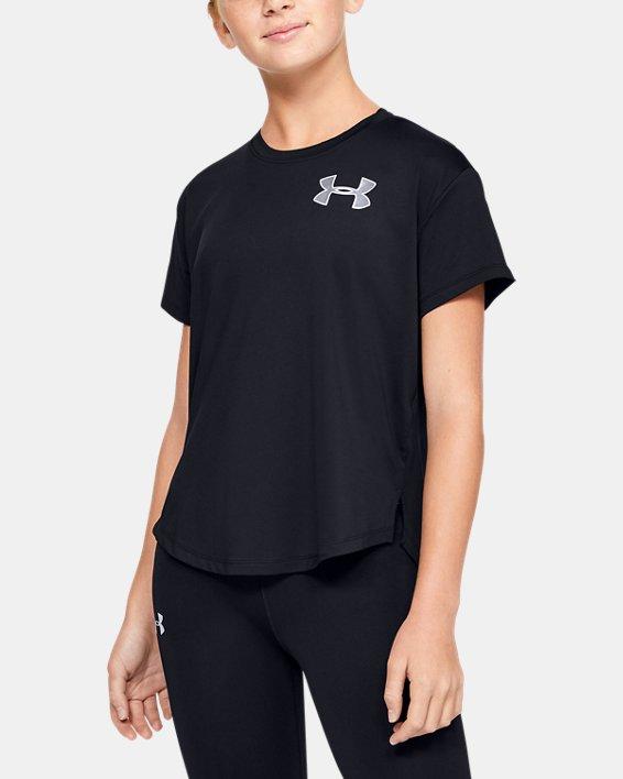 Girls' HeatGear® Armour Short Sleeve, Black, pdpMainDesktop image number 1
