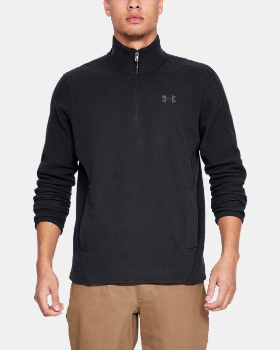 Men's UA OffGrid Fleece Solid ¼ Zip, Black, pdpMainDesktop image number 0