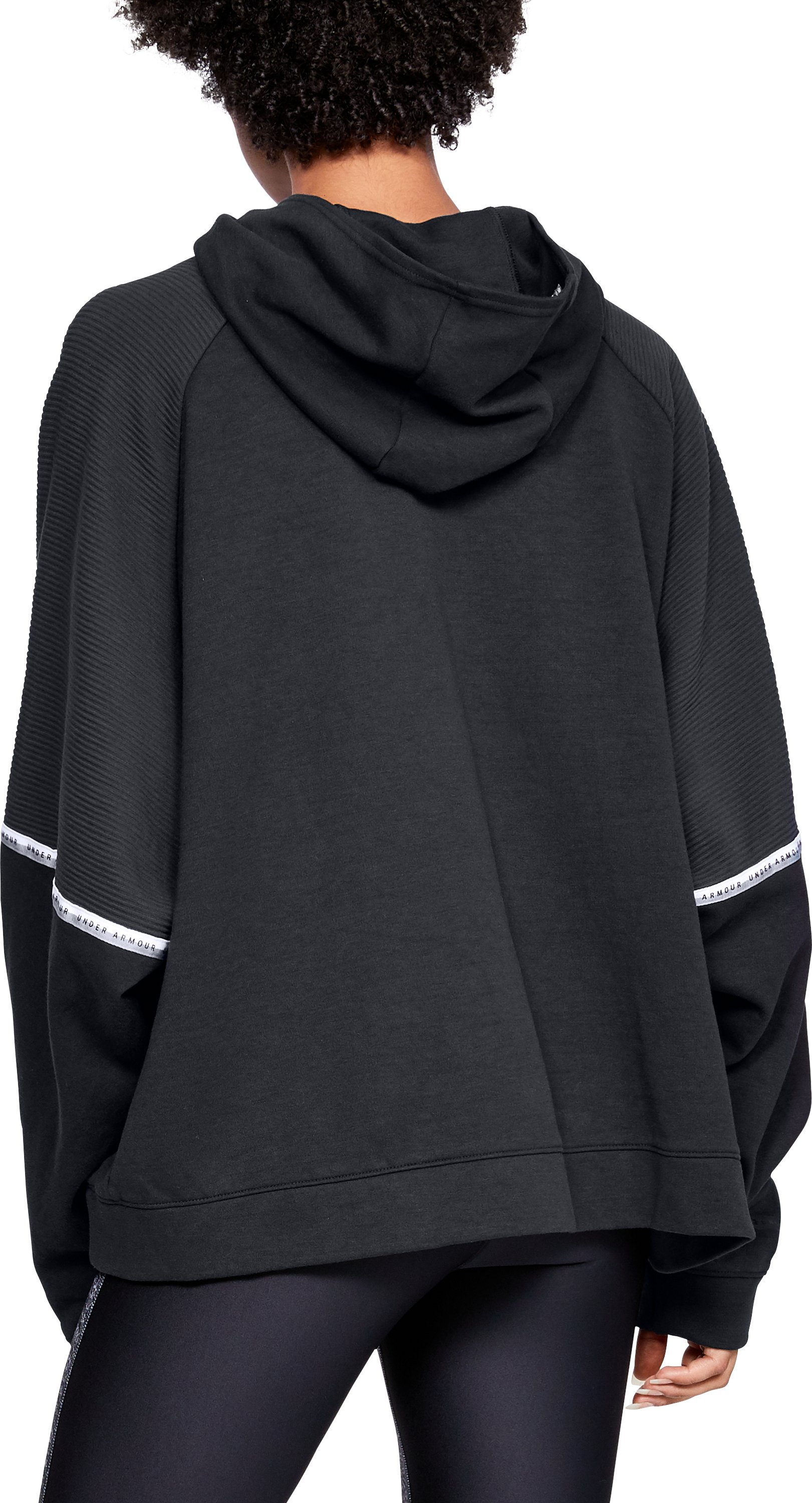Women's UA Unstoppable Double Knit Oversize Hoodie, Black ,