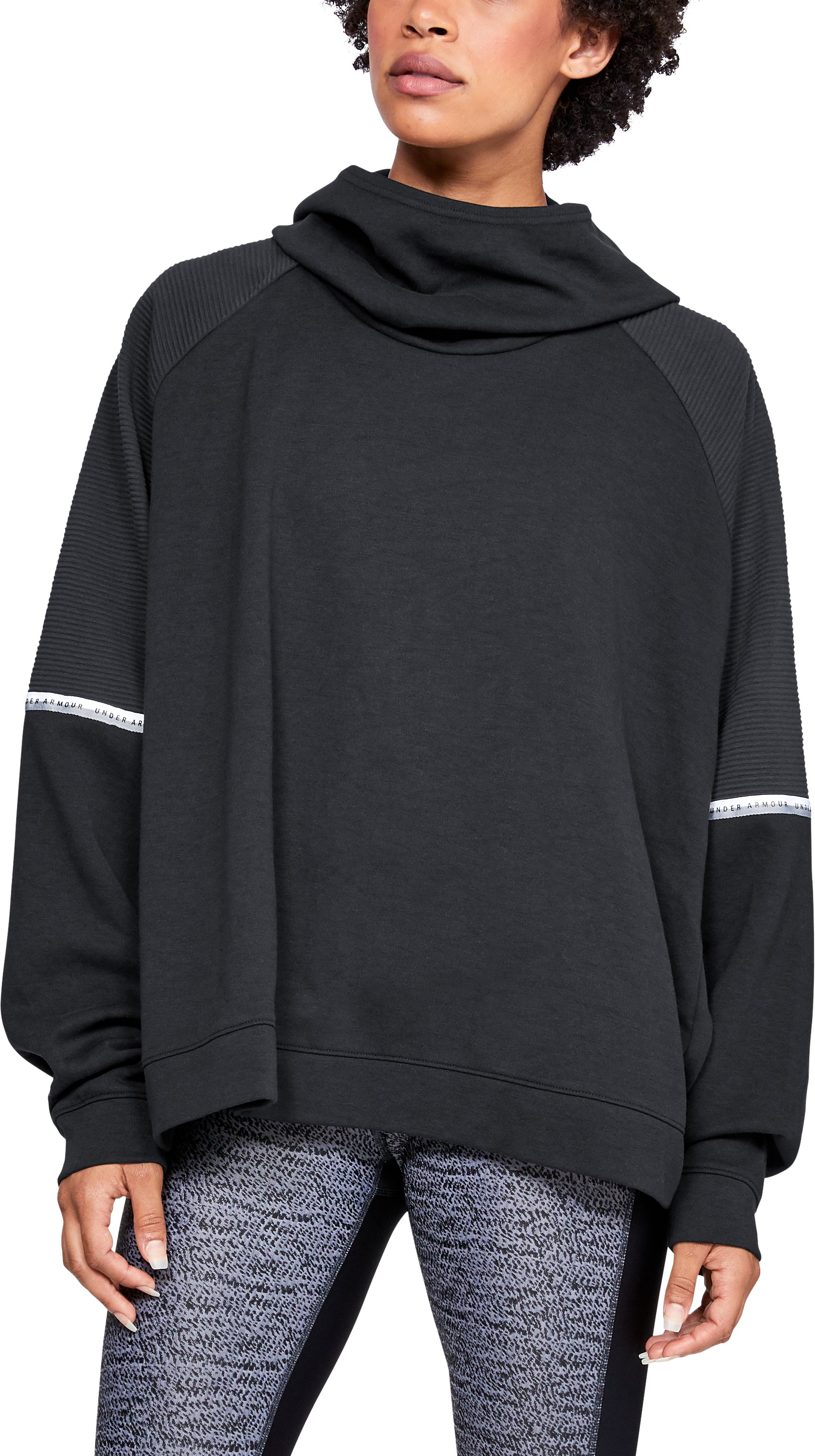 Women's UA Unstoppable Double Knit Oversize Hoodie, Black , zoomed