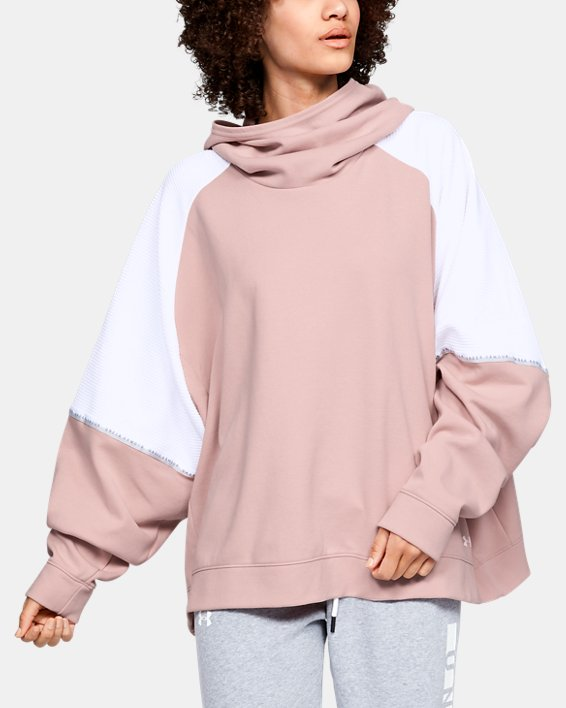 Women's UA Unstoppable Double Knit Oversize Hoodie, Pink, pdpMainDesktop image number 0