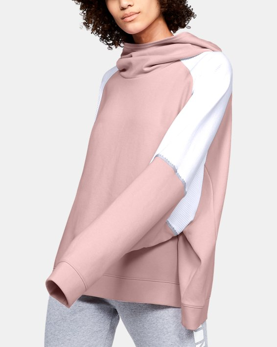 Women's UA Unstoppable Double Knit Oversize Hoodie, Pink, pdpMainDesktop image number 3