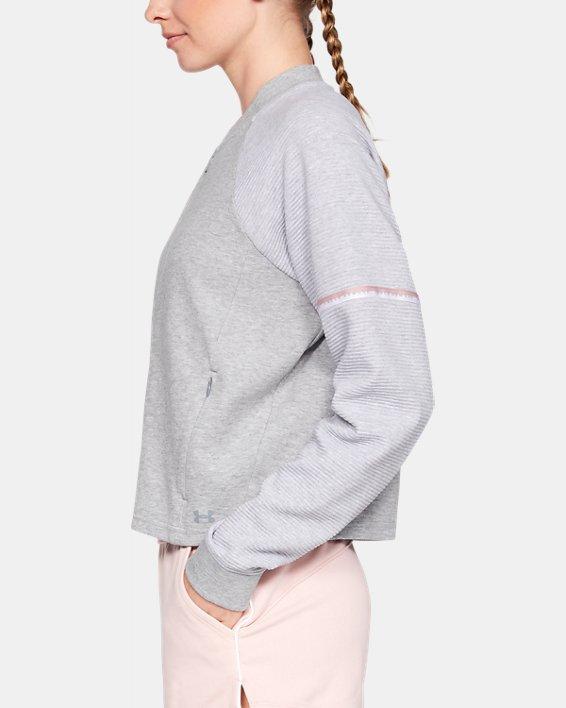 Women's UA Unstoppable Double Knit Bomber Jacket, Gray, pdpMainDesktop image number 3