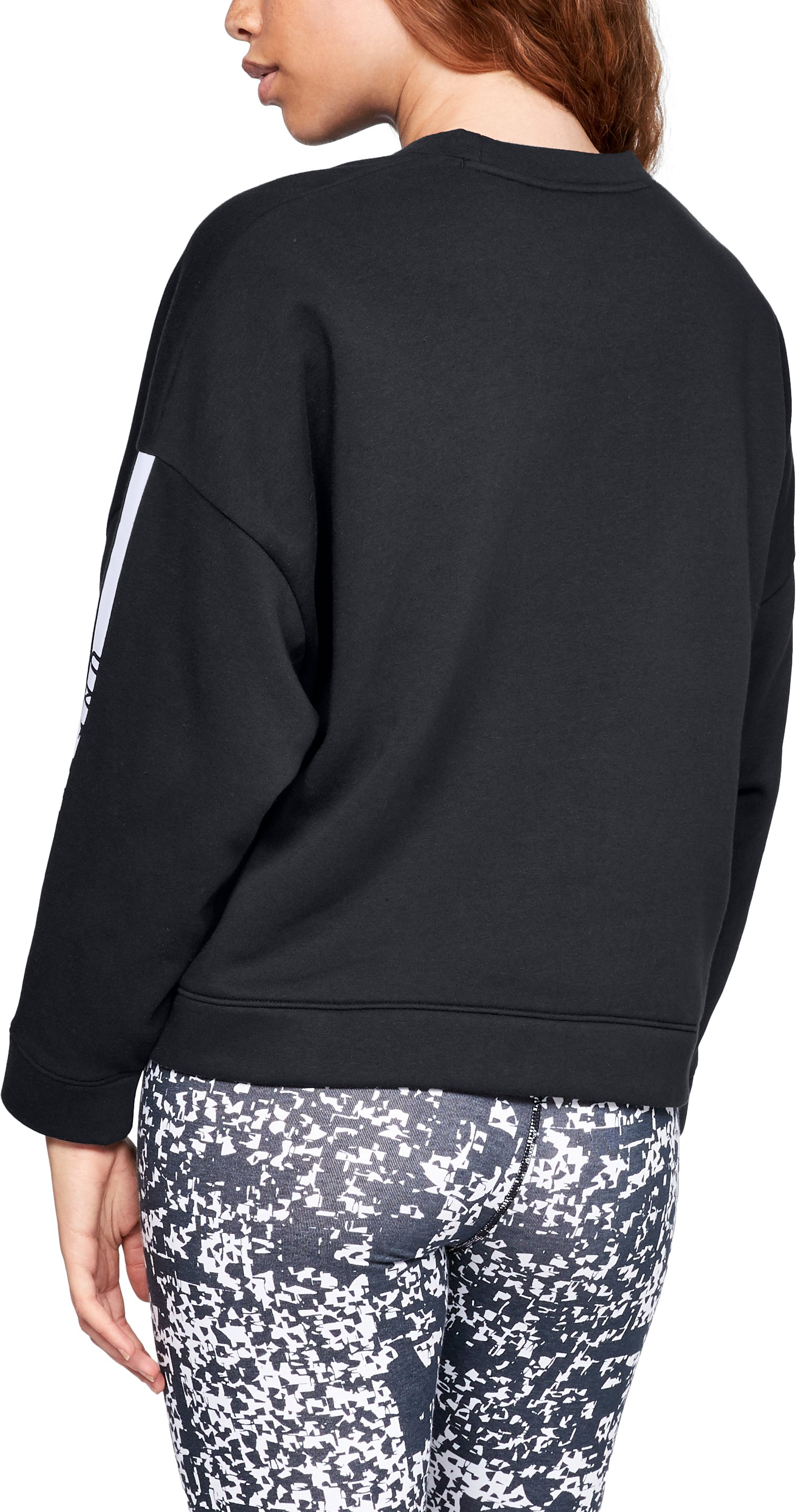 Women's UA Rival Fleece Oversize Crew, Black ,