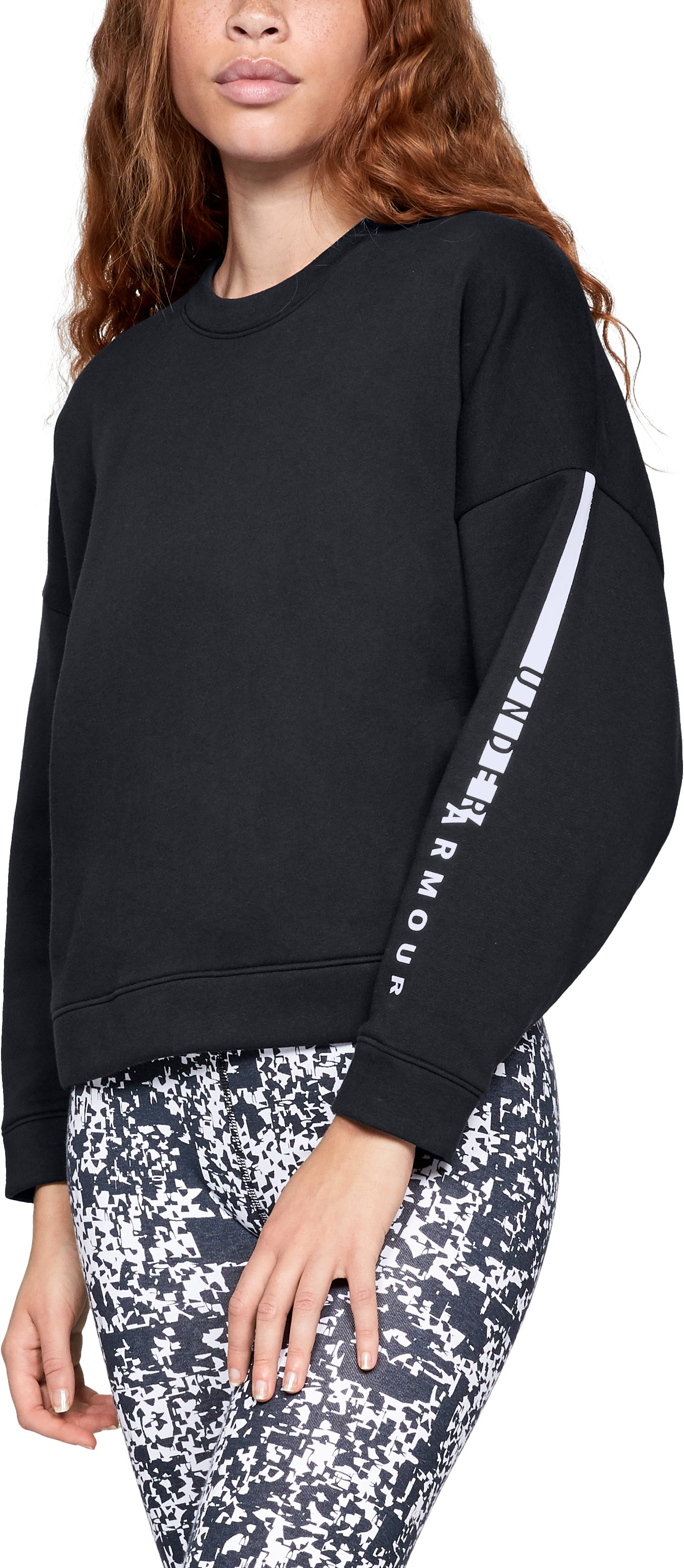 Women's UA Rival Fleece Oversize Crew, Black