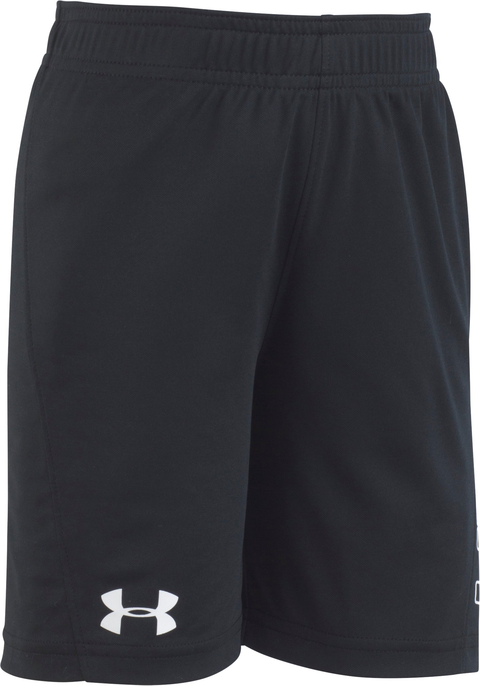 Boys' Pre-School UA Kick Off Solid Shorts , Black , Laydown