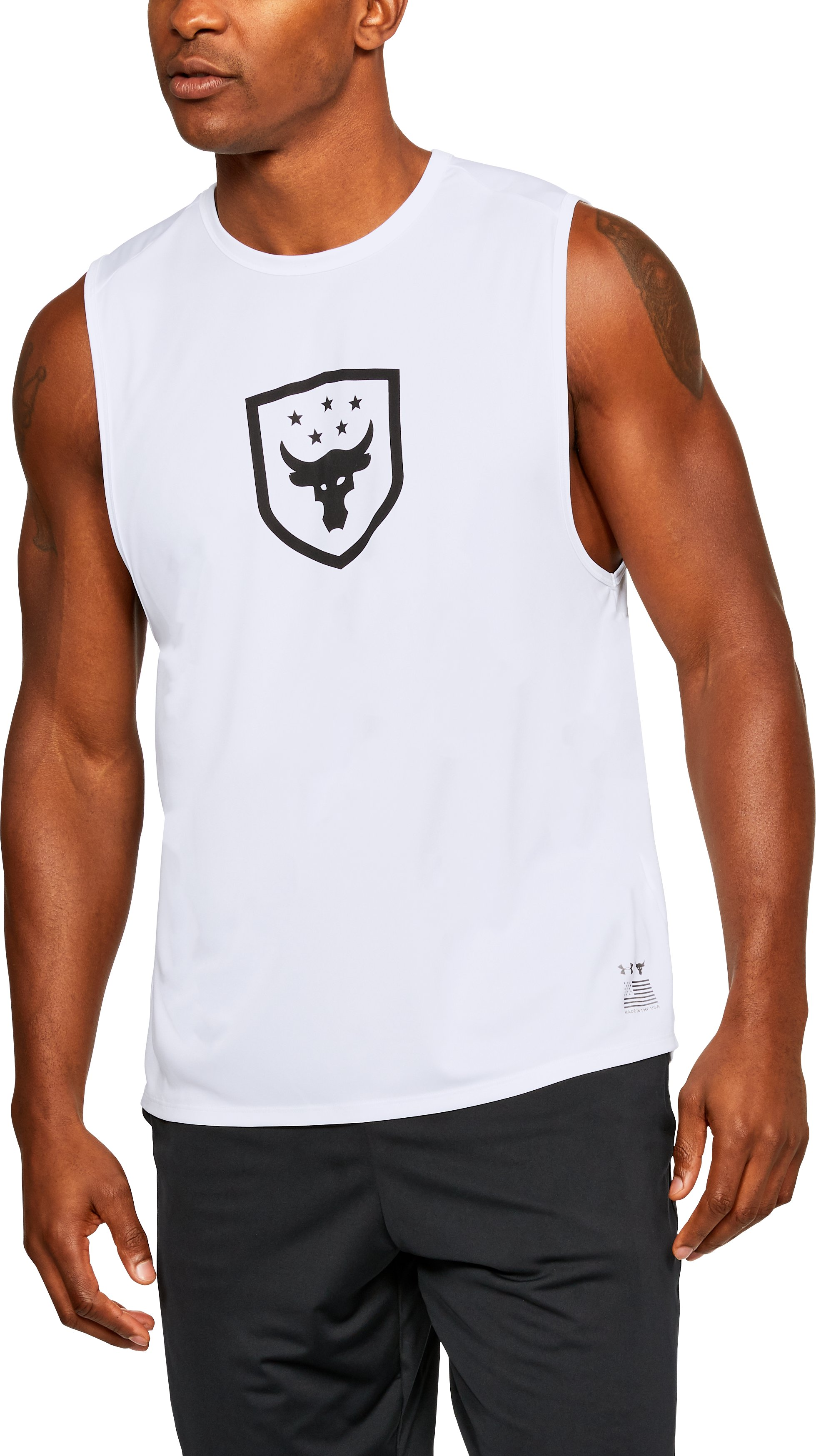 Men's UA x Project Rock Muscle Tank, White, zoomed