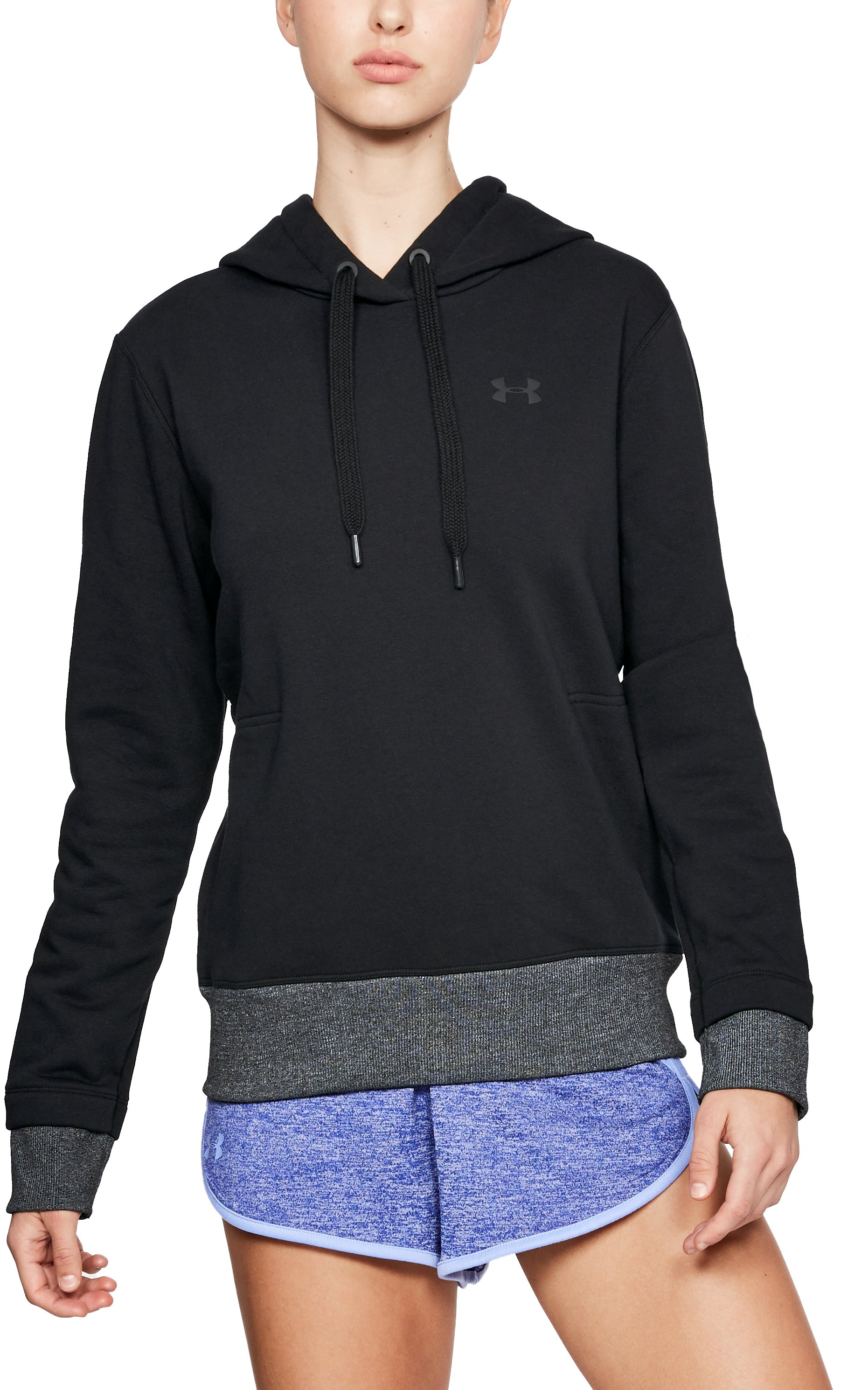 Women's UA x Project Rock Threadborne Fleece Hoodie, Black , zoomed