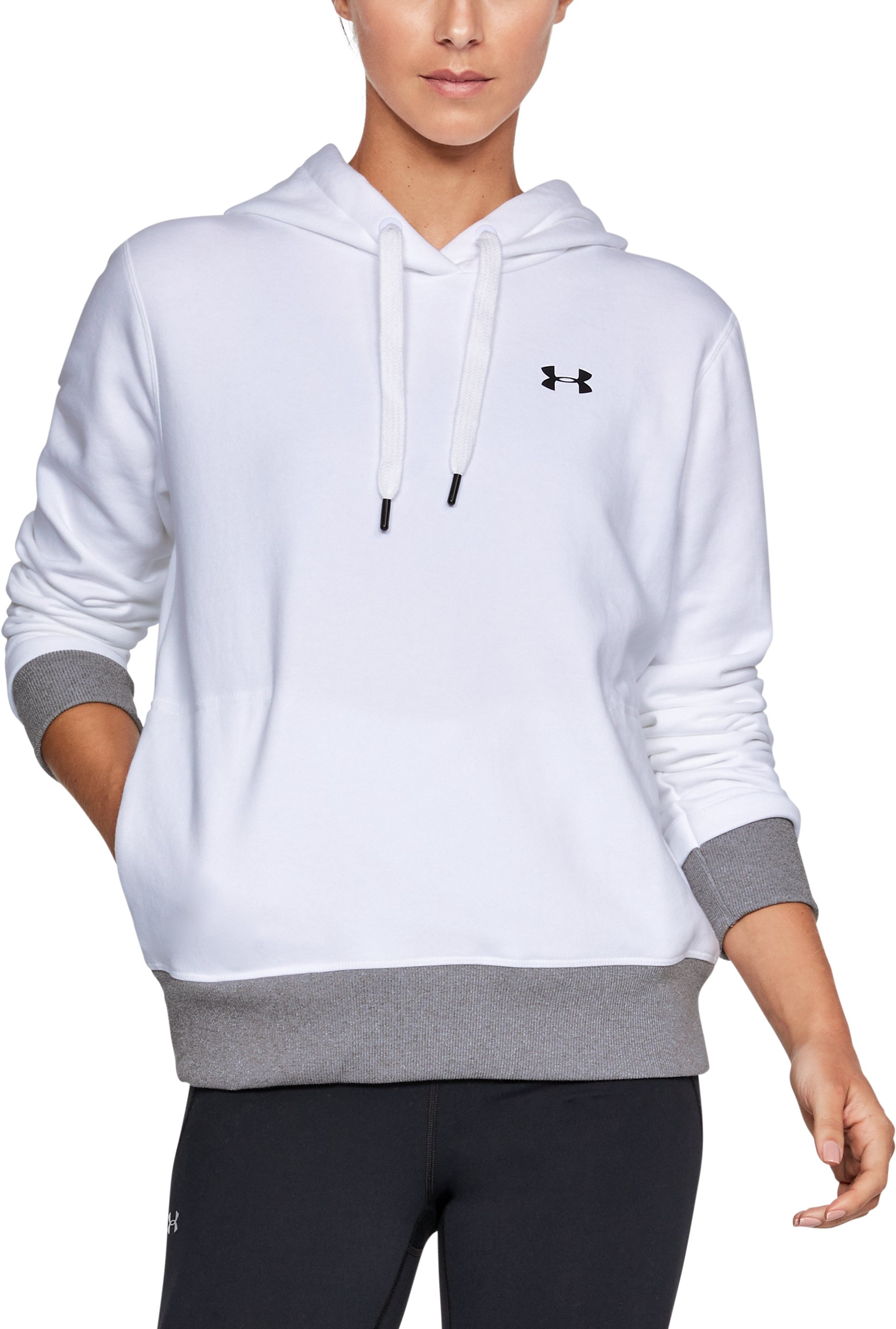 Women's UA x Project Rock Threadborne Fleece Hoodie, White, zoomed