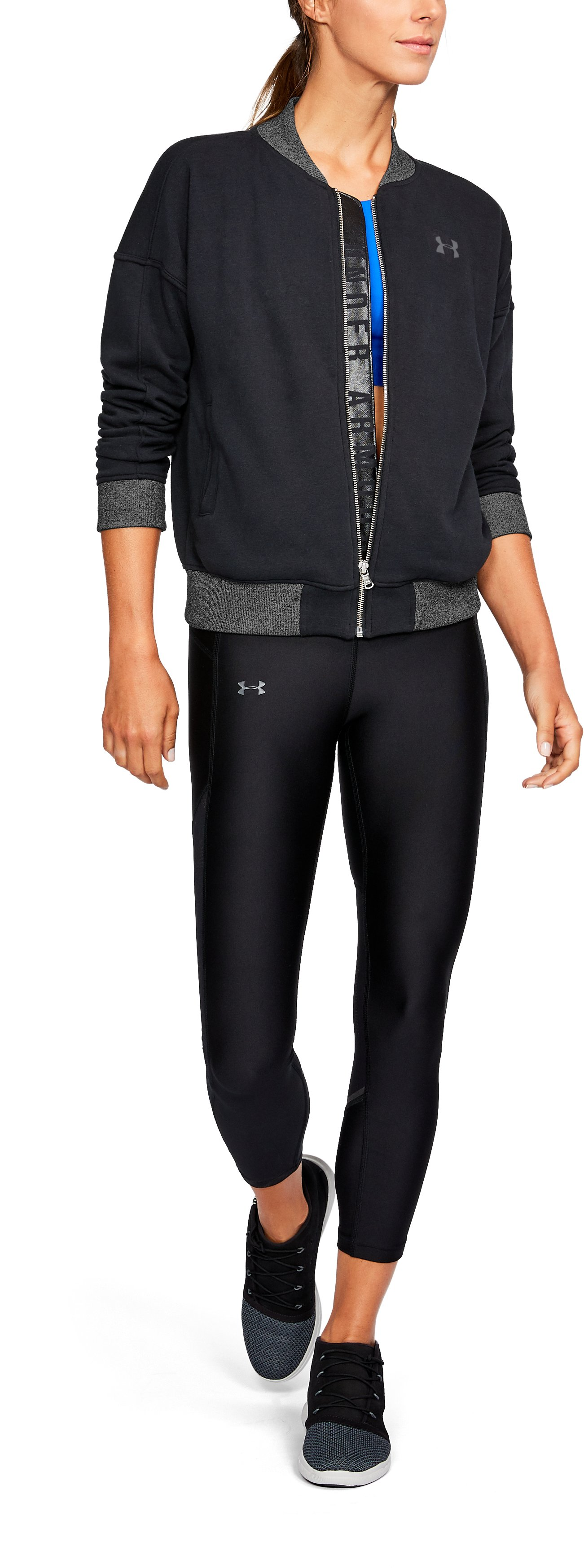 Women's UA x Project Rock  Threadborne Fleece Bomber Jacket *Ships 11/16/17*, Black , undefined