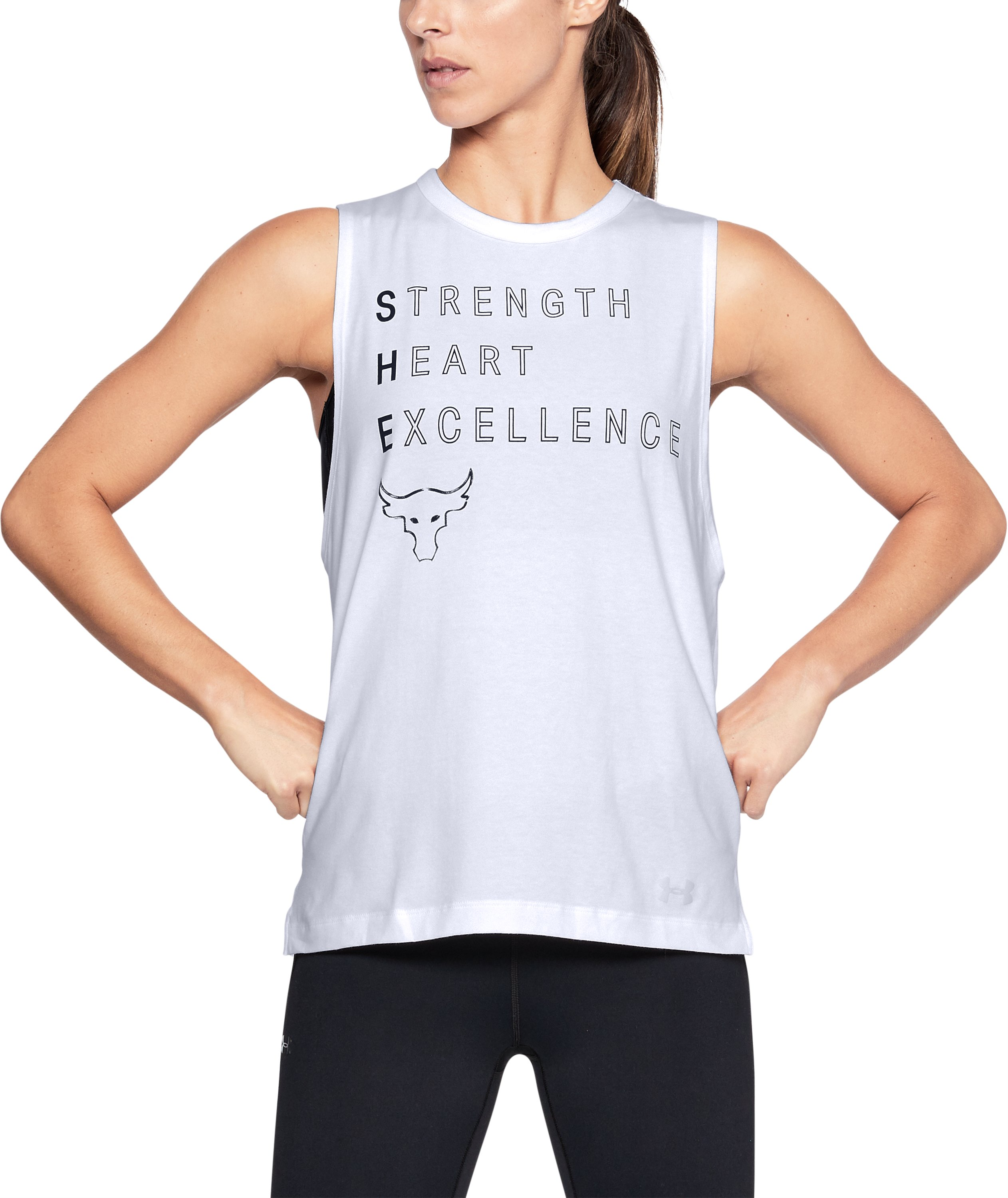 Women's UA x Project Rock Rock Motto Muscle Tank, White, zoomed