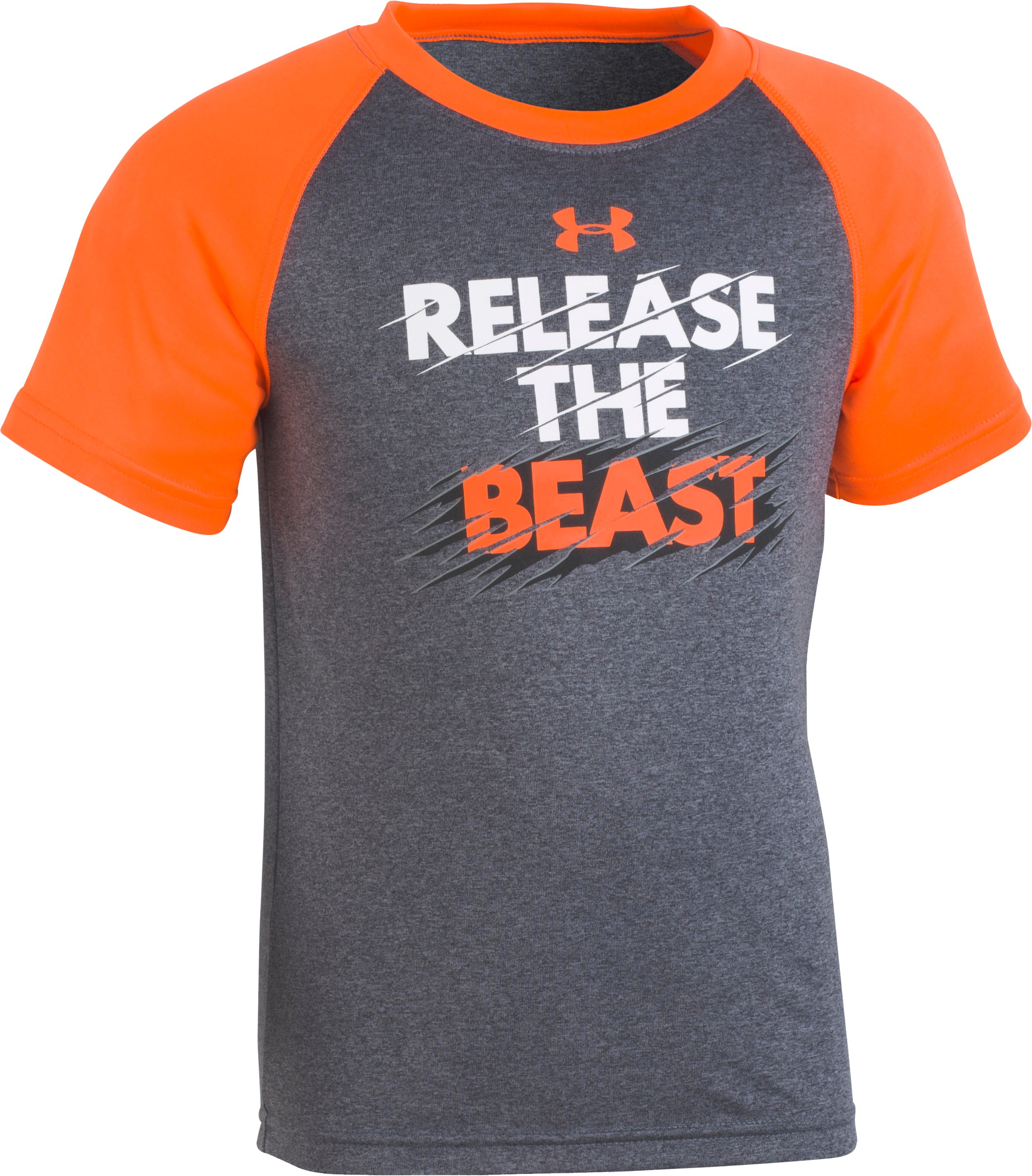 Boys' Toddler UA Release The Beast T-Shirt , Charcoal Medium Heather, Laydown