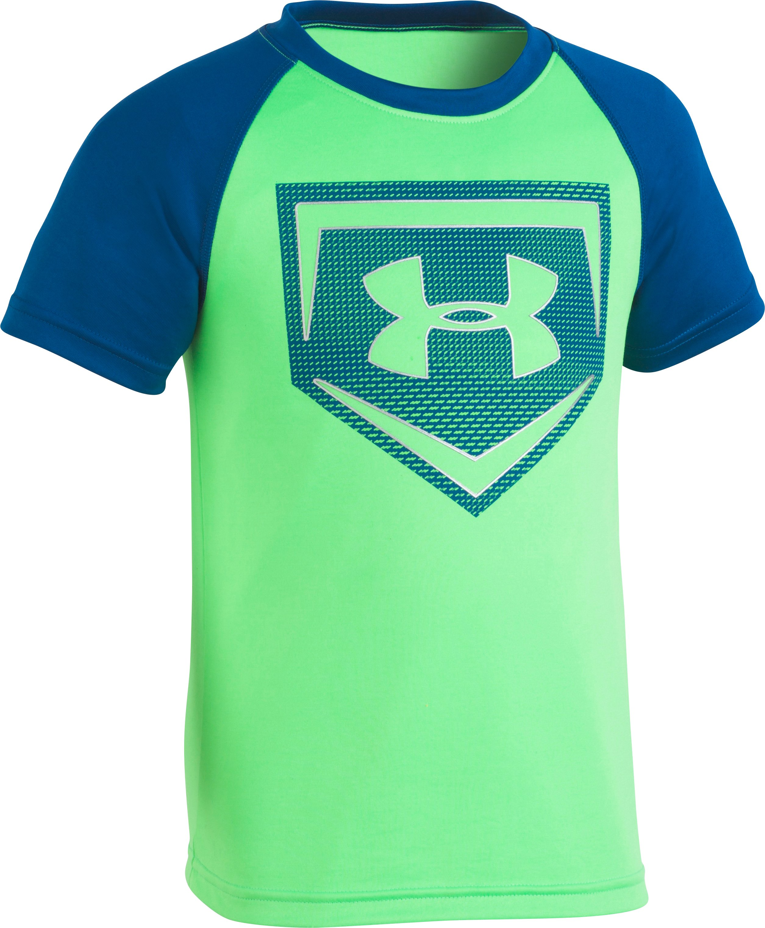 Boys' Pre-School UA Metallic Sync Homeplate T-Shirt, Arena Green, zoomed