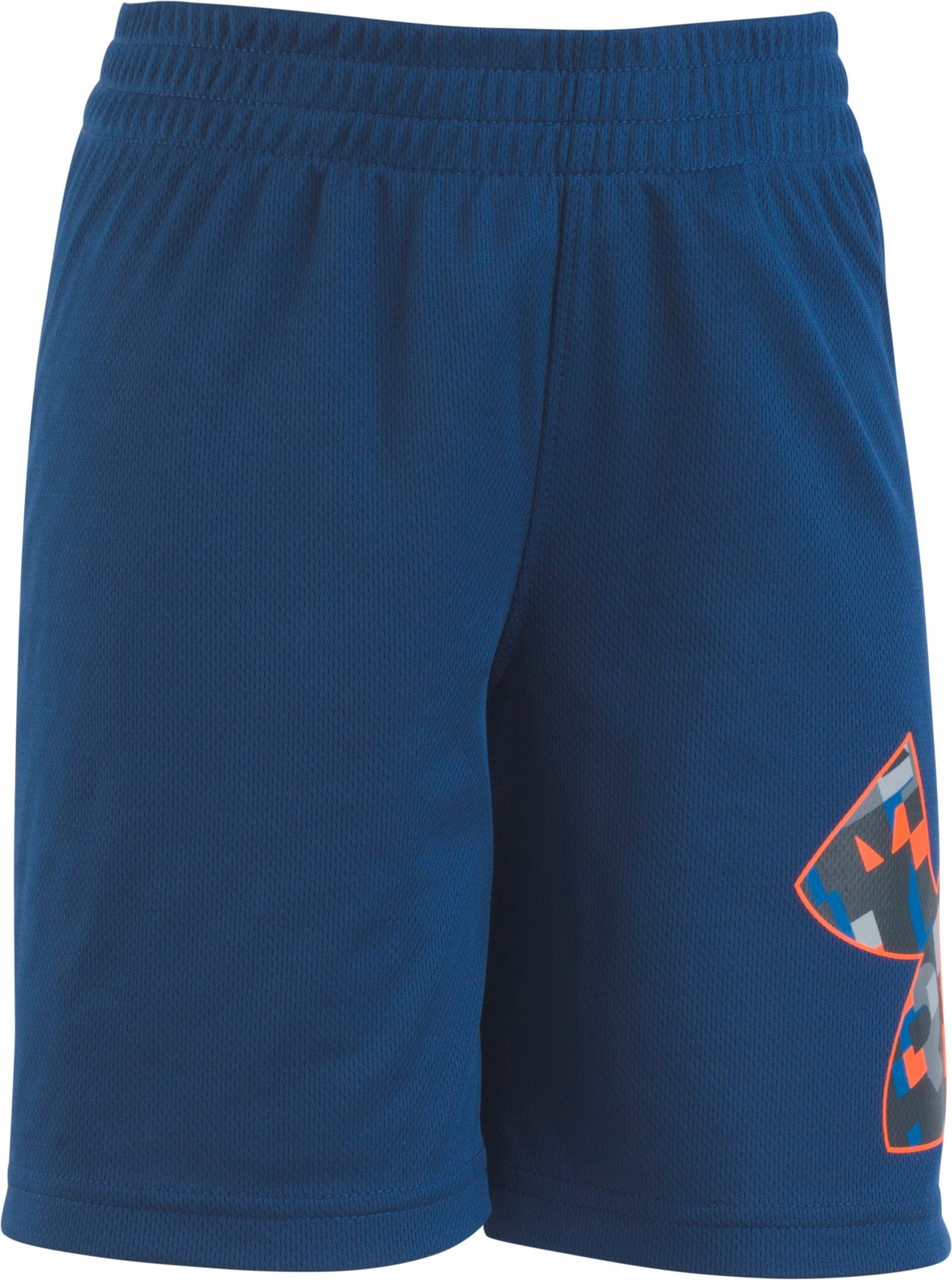 Boys' Pre-School UA Wordmark Striker Shorts, Moroccan Blue, zoomed