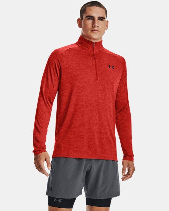 Men's UA Tech™ ½ Zip Long Sleeve, Orange, pdpMainDesktop image number 0