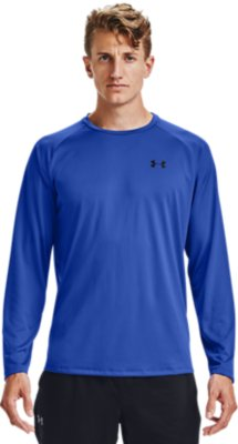 Under Armour UA HeatGear Charged Cotton Mens Blue Long Sleeved Top L
